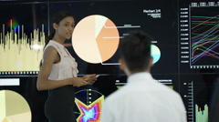 4K Business people in office, looking at large video screen with charts & graphs Stock Footage