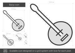 Banjo line icon Stock Illustration