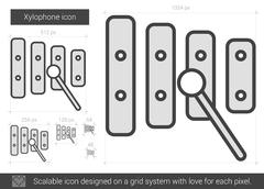 Xylophone line icon Stock Illustration