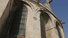 Details of Mens Abbey facade in Normandy France by the day Stock Footage