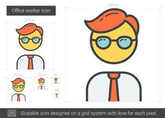 Office worker line icon Stock Illustration
