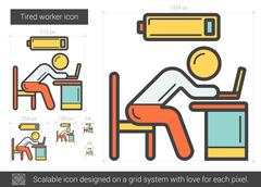 Tired worker line icon Stock Illustration