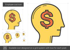 Employee cost line icon Stock Illustration