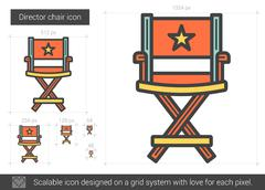 Director chair line icon Stock Illustration