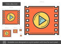 Video play line icon Stock Illustration