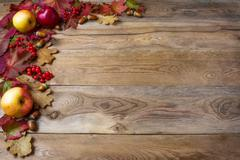 Border of apples, acorns, berries and fall leaves on the old wooden backgroun Stock Photos