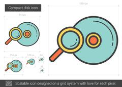 Compact disk line icon Stock Illustration