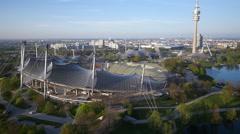 Aerial downward tilt of Olympia stadium Stock Footage