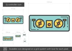 Dj controller line icon Stock Illustration
