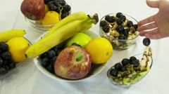 Alot of Fruits and Salats Stock Footage