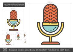 Record microphone line icon Stock Illustration