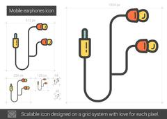 Mobile earphones line icon Stock Illustration