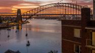 Sun rises over Sydney Harbour Stock Footage