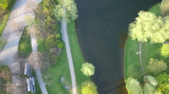 Aerial shot of Olympia stadium munich Stock Footage
