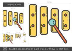 Xylophone line icon Piirros