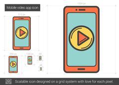 Mobile video app line icon Stock Illustration