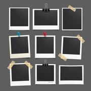 Vector photo frame.Set of realistic paper photograph.Template photo design. Stock Illustration
