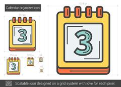 Calendar organizer line icon Stock Illustration