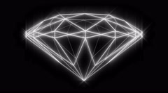 Diamond wireframe loop, rotating, side angle, with sparkle glow. Stock Footage