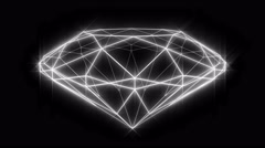 Diamond wireframe loop, rotating, high angle, with sparkle glow. Stock Footage