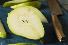 Raw Green Organic Danjou Pears Stock Photos
