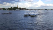 Two connected hydrofoil boats ride together, Neva river open area Stock Footage