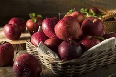 Raw Organic Red Delicious Apples Stock Photos