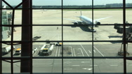 Plane of Air China stops on the airport,waiting for taking off Stock Footage