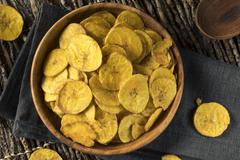 Healthy Homemade Plantain Chips Stock Photos