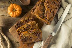 Homemade Chocolate Chip Pumpkin Bread Stock Photos