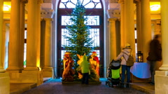Christmas tree in front of a historic building in Bratislava Stock Footage