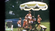 1963: a picnic in a garden area is seen CAMDEN, NEW JERSEY Stock Footage