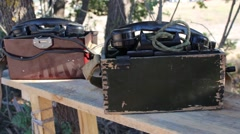 Army field phone Stock Footage
