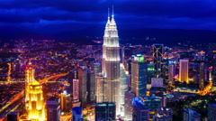 View of the Skyline of Kuala Lumpur at night Stock Footage