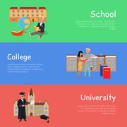 Set of Banners School College University. Vector Stock Illustration