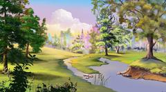 Autumn Landscape with River and Forest Edge Stock Illustration