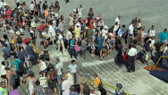 Crowd of tourists travel with suitcases Stock Footage
