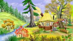 Small  Fairy Tale House Near the River in the Autumn Forest Stock Illustration
