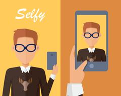 Selfy on Smartphone. Young Man Taking Self Portrait Piirros