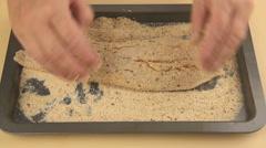 Crumbing Fresh Fish With Breadcrumbs Stock Footage