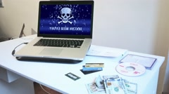 Computer Malware, Stolen Credit Cards, Money, Hacker Crime Scene Stock Footage