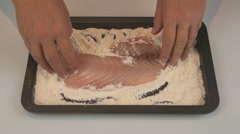 Flouring Fresh Sliced Fish Fillets Stock Footage