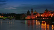 Cityscape of Prague at night with Charles Bridge Karluv Most over Vltava river Stock Footage