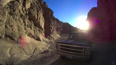 Borrego Desert California Sandstone Canyon Trail Duster - Front  Stock Footage
