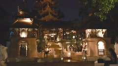 Entrance of lanna style hotel in the night Stock Footage