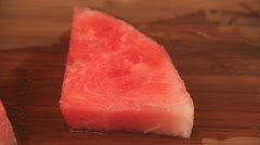 Slicing Watermelon Into Pieces Stock Footage