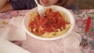 Pasta al sugo kid eat Stock Footage