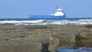 Large transport ship in the sea. Stock Footage