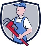 Handyman Pipe Wrench Crest Cartoon Stock Illustration