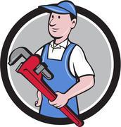 Handyman Holding Pipe Wrench Circle Cartoon Stock Illustration